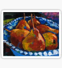 Red Pears in Blue Bowl Sticker