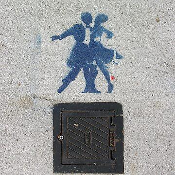 Sidewalk Dancers (stencil graffiti) by alexiares