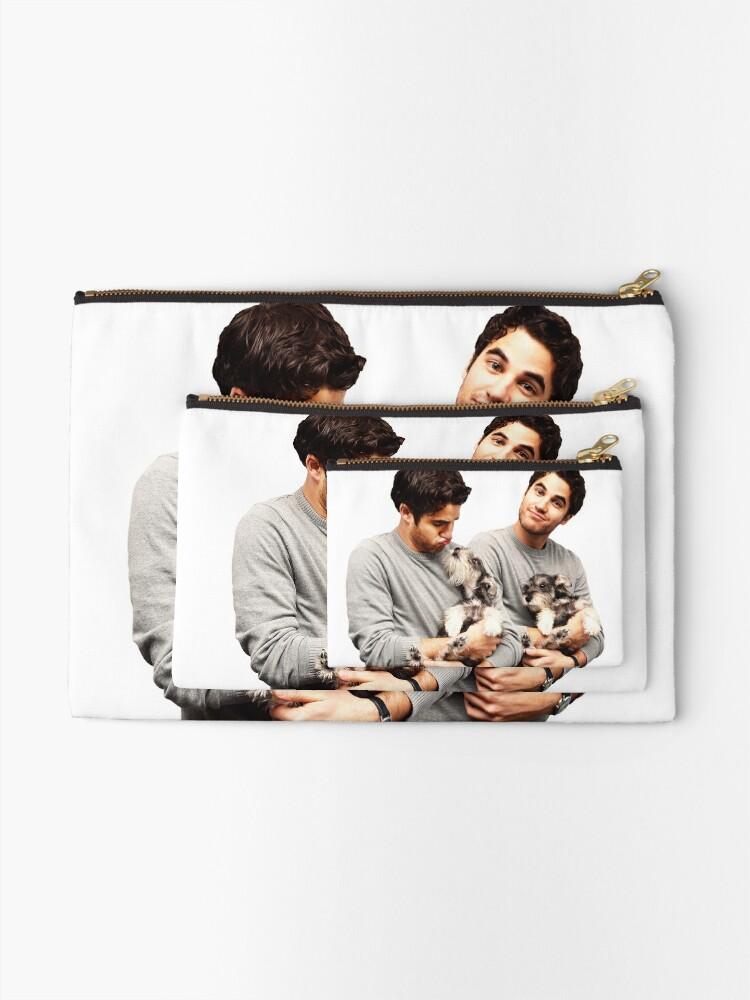 Alternate view of Darren Criss holding a puppy Zipper Pouch