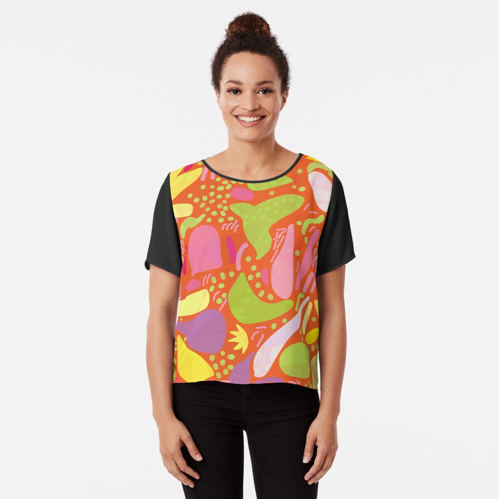 Colorful tropical shapes Chiffon Top