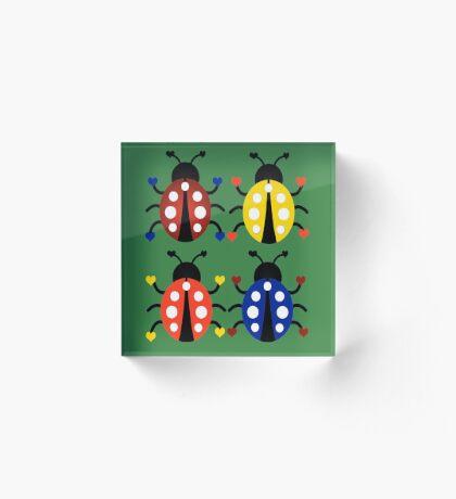 Ladybugs with Hearts Acrylic Block