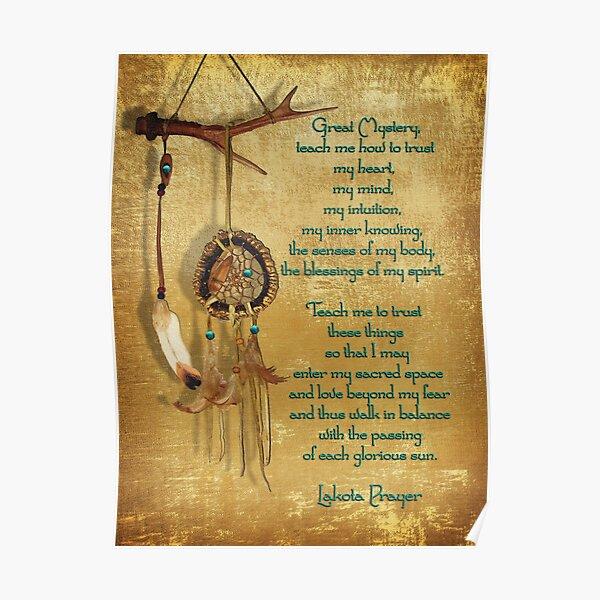 Lakota Prayer Dream Catcher Poster