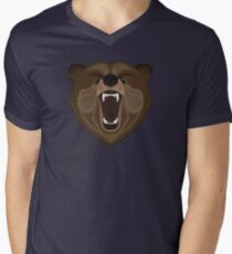 Graphic wild bear Mens V-Neck T-Shirt