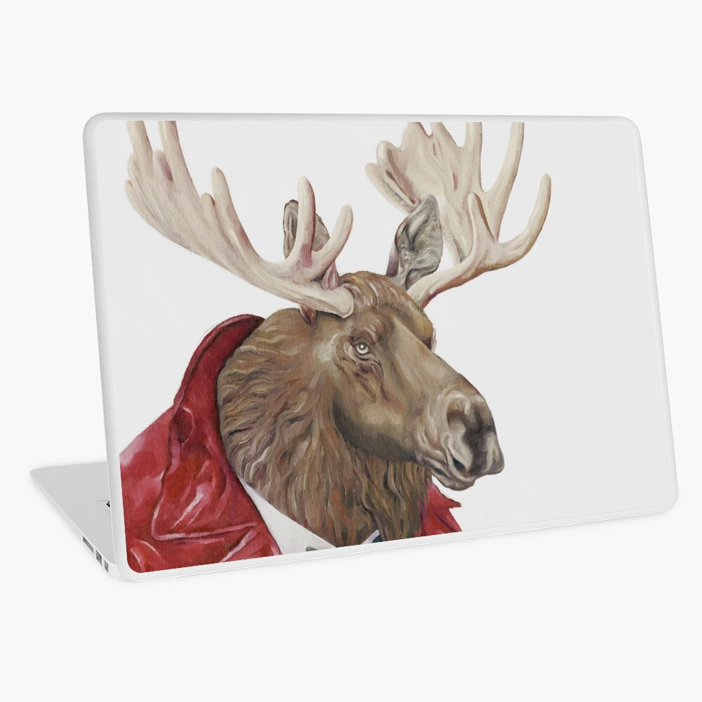 Moose in Leather Laptop Skin