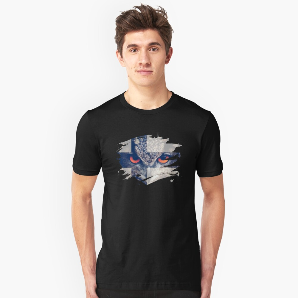 Finland Flag and Menacing Owl Unisex T-Shirt Front