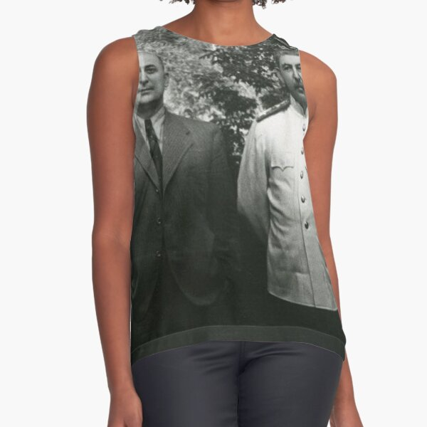 Political Poster, Stalin Beria Сталин Берия mature adult standing suit Sleeveless Top