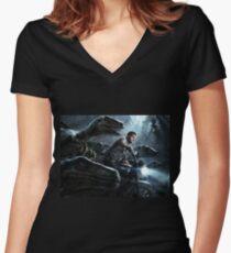 Jurassic World Women's Fitted V-Neck T-Shirt