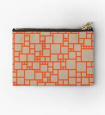 abstract cells pattern in orange and beige Zipper Pouch
