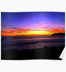 Cabrillo Beach Sunset in San Pedro, California Poster