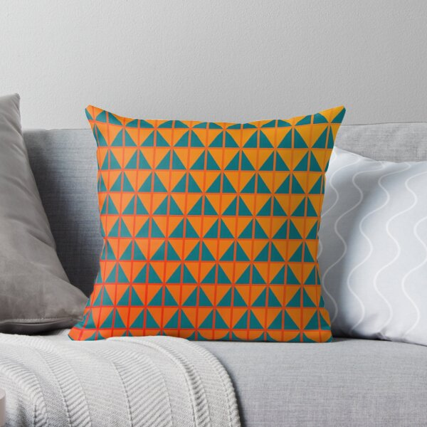fiery triangle pattern in teal orange and red  Throw Pillow