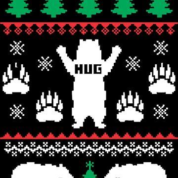 Funny Xmas Bear Hug by NovaPaint