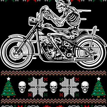 Skeleton on motorcycle Christmas by NovaPaint