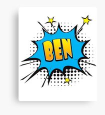 Comic book speech bubble font first name Ben Canvas Print