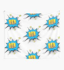Comic book speech bubble font first name Ben Wall Tapestry