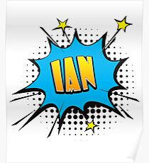 Comic book speech bubble font first name Ian Poster