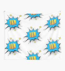 Comic book speech bubble font first name Jan Wall Tapestry