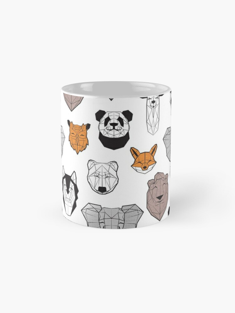 Alternate view of Friendly geometric animals // white background black and white orange grey and taupe brown animals Mug