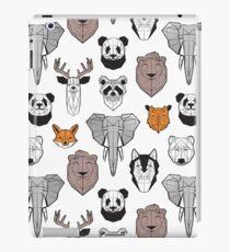 Friendly geometric animals // white background black and white orange grey and taupe brown animals iPad Case/Skin