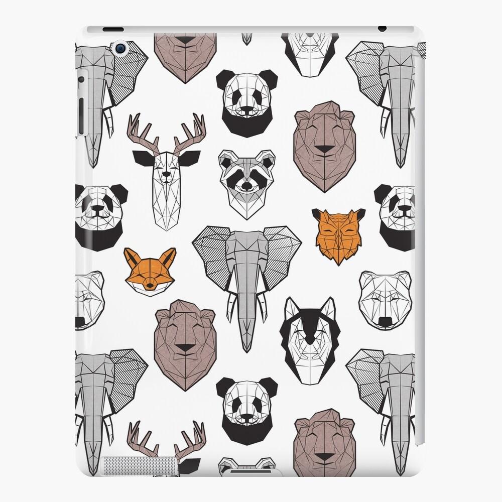 Friendly geometric animals // white background black and white orange grey and taupe brown animals iPad Case & Skin