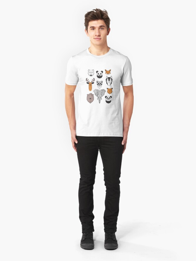 Alternate view of Friendly geometric animals // white background black and white orange grey and taupe brown animals Slim Fit T-Shirt