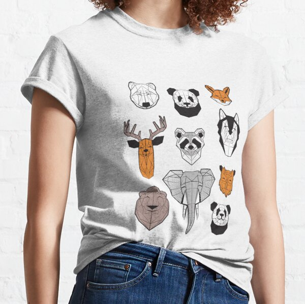 Friendly geometric animals // white background black and white orange grey and taupe brown animals Classic T-Shirt