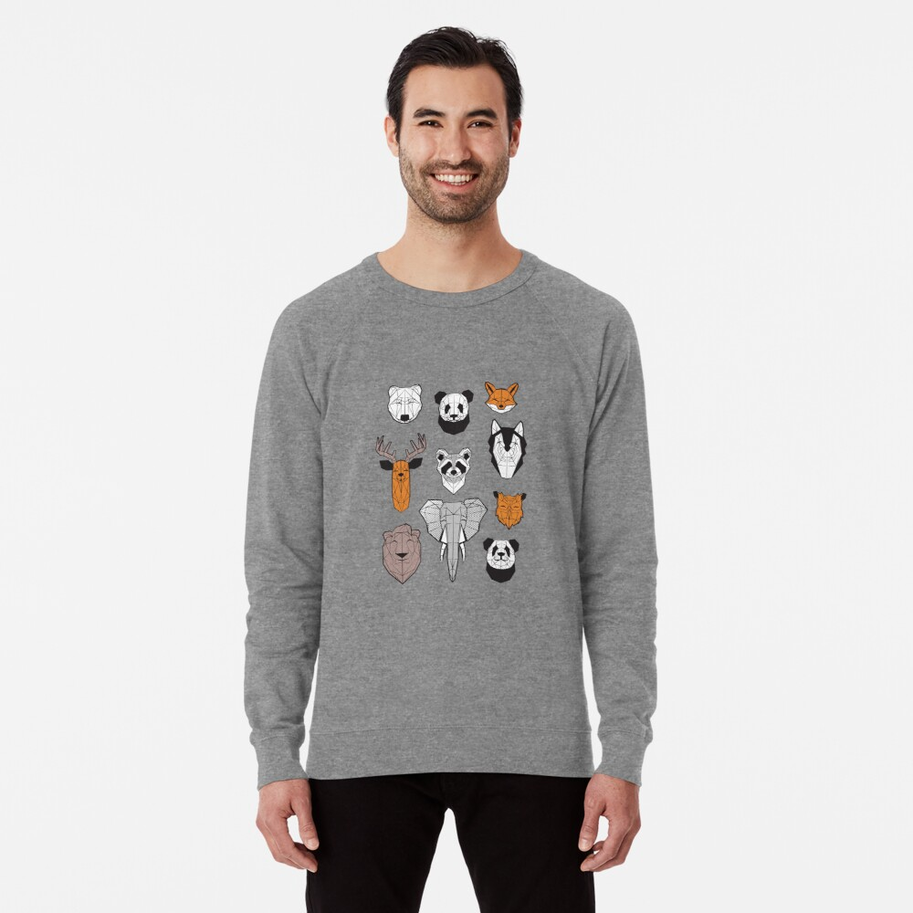 Friendly geometric animals // white background black and white orange grey and taupe brown animals Lightweight Sweatshirt