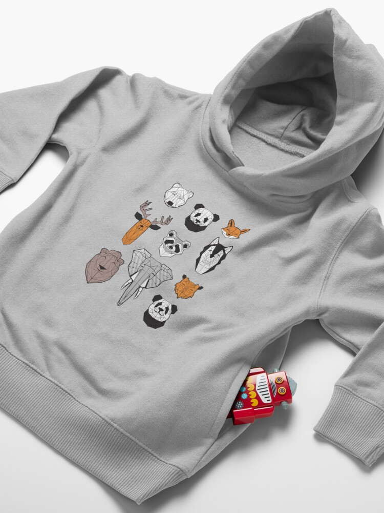 Alternate view of Friendly geometric animals // white background black and white orange grey and taupe brown animals Toddler Pullover Hoodie