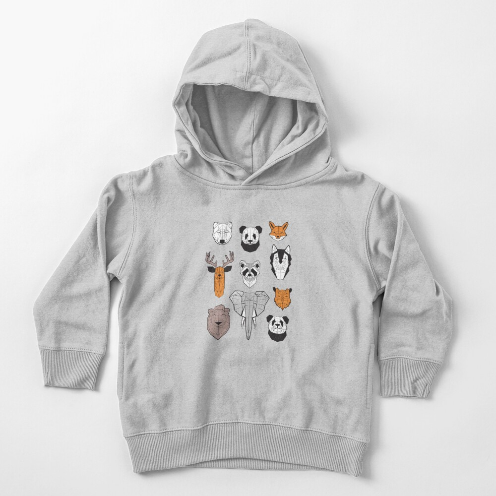 Friendly geometric animals // white background black and white orange grey and taupe brown animals Toddler Pullover Hoodie