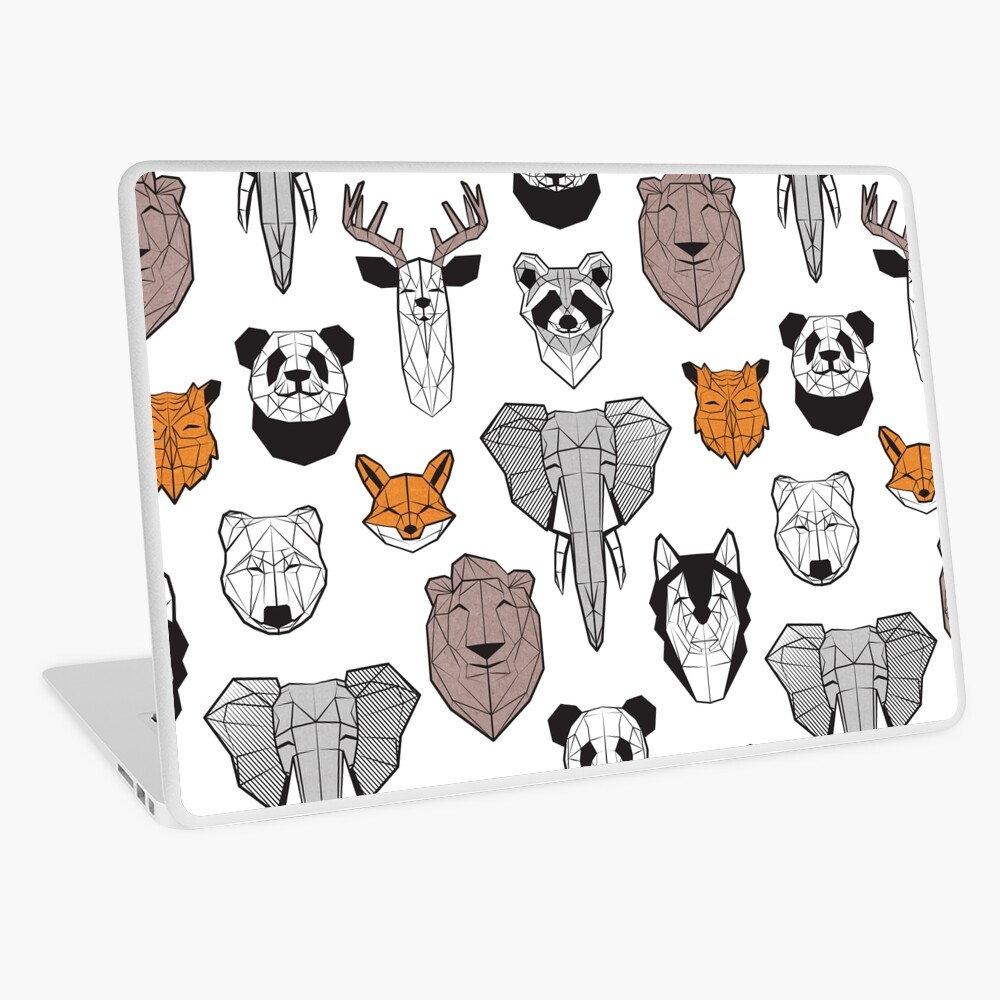 Friendly geometric animals // white background black and white orange grey and taupe brown animals Laptop Skin