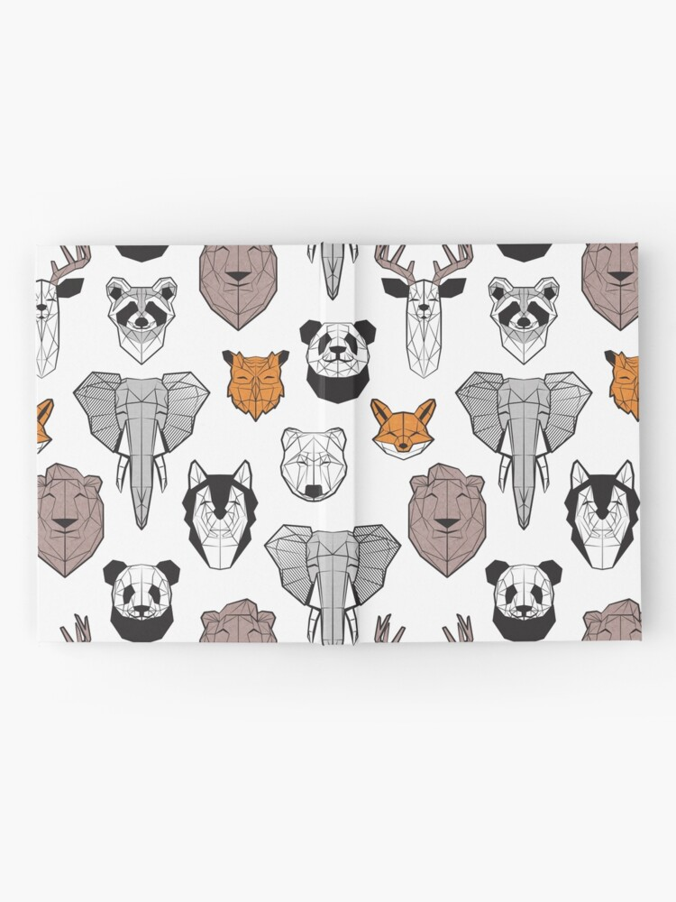 Alternate view of Friendly geometric animals // white background black and white orange grey and taupe brown animals Hardcover Journal