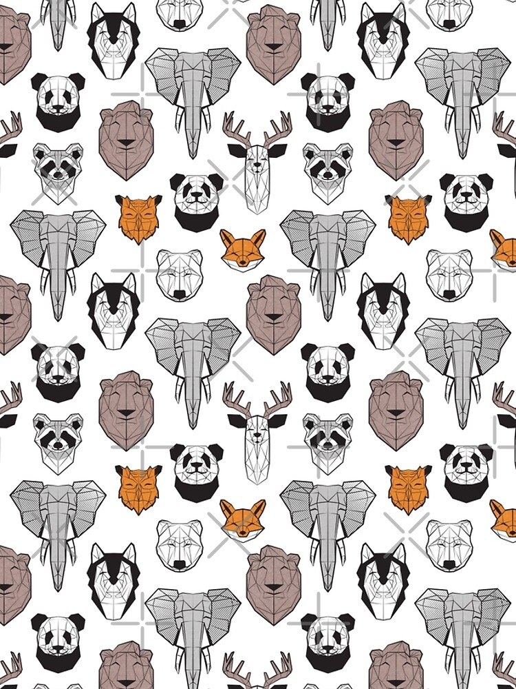Friendly geometric animals // white background black and white orange grey and taupe brown animals by SelmaCardoso