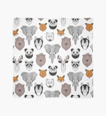 Friendly geometric animals // white background black and white orange grey and taupe brown animals Scarf
