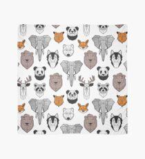 Pañuelo Animales geométricos amigables // fondo blanco blanco y negro naranja gris y marrón marrón marrón animales