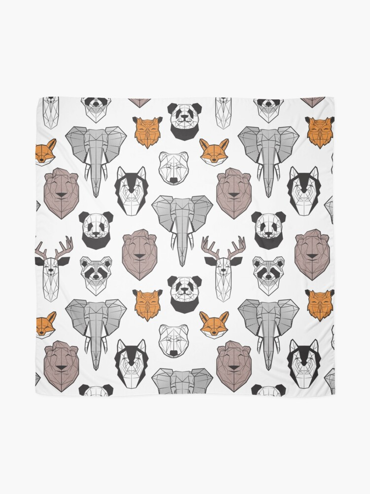 Alternate view of Friendly geometric animals // white background black and white orange grey and taupe brown animals Scarf