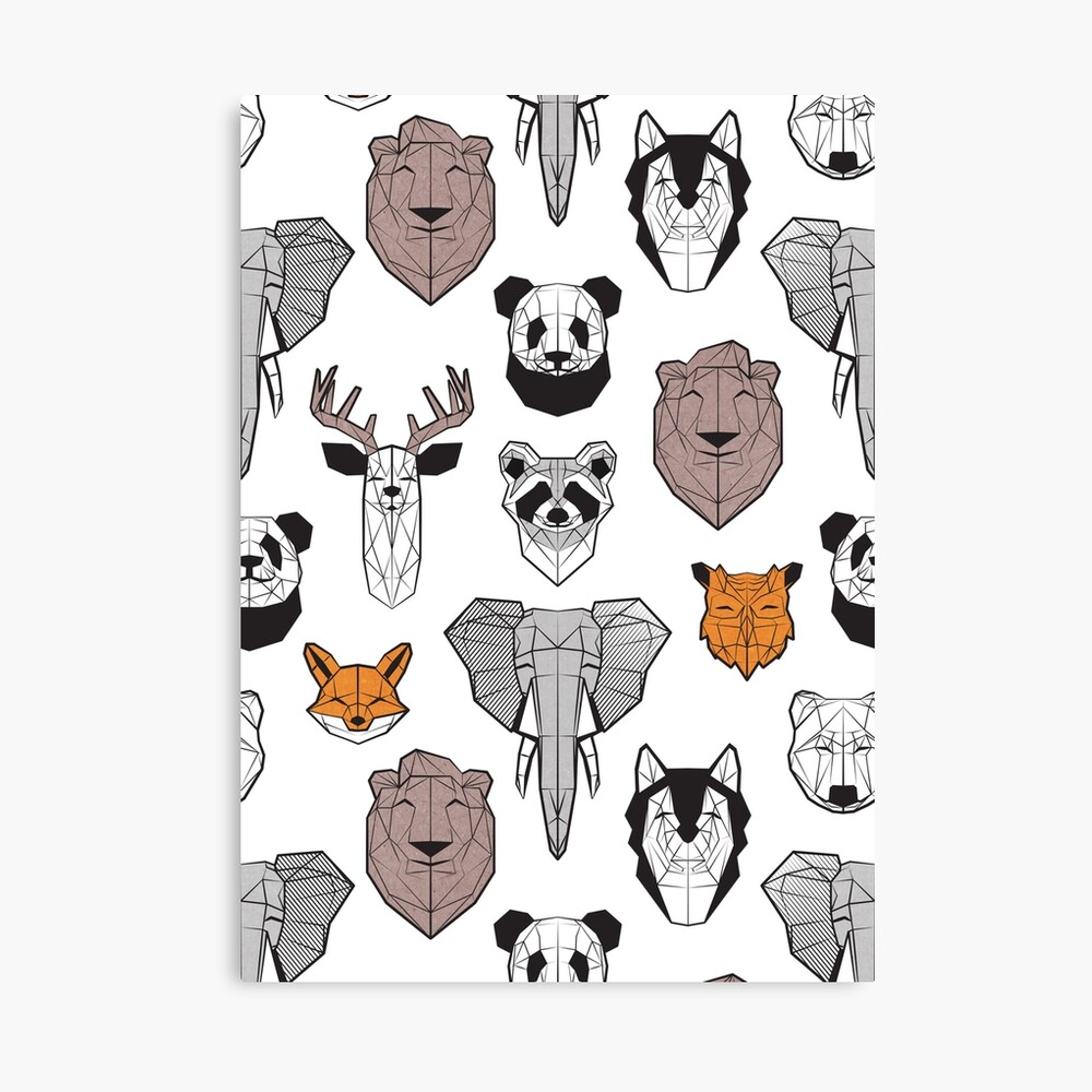Friendly geometric animals // white background black and white orange grey and taupe brown animals Canvas Print