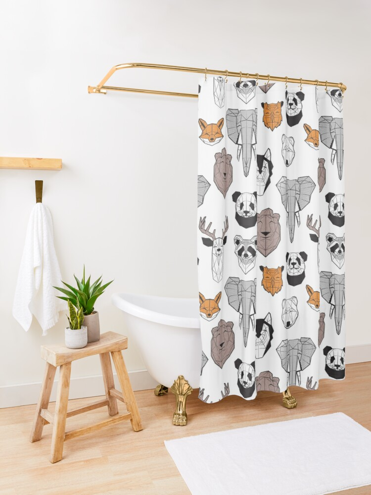 Alternate view of Friendly geometric animals // white background black and white orange grey and taupe brown animals Shower Curtain