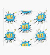 Comic book speech bubble font first name Max Wall Tapestry
