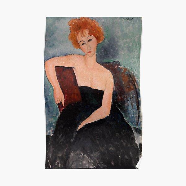 Fille rousse en robe de soirée par Amedeo Modigliani, 1918 Poster