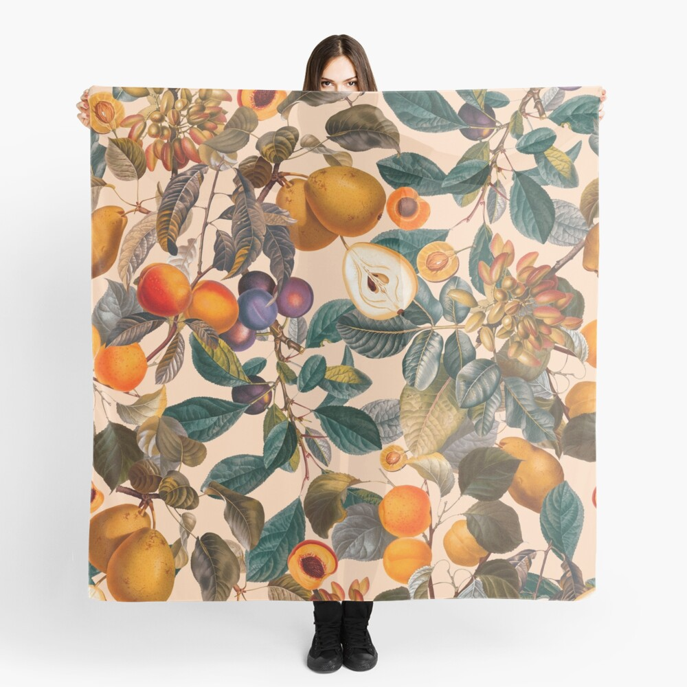 Vintage Fruit Pattern IX Scarf