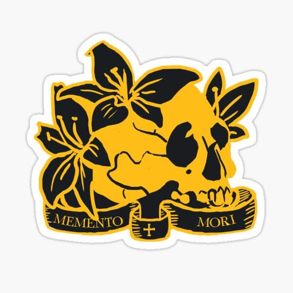 Memento Mori skull and flowers- remember you will die Sticker
