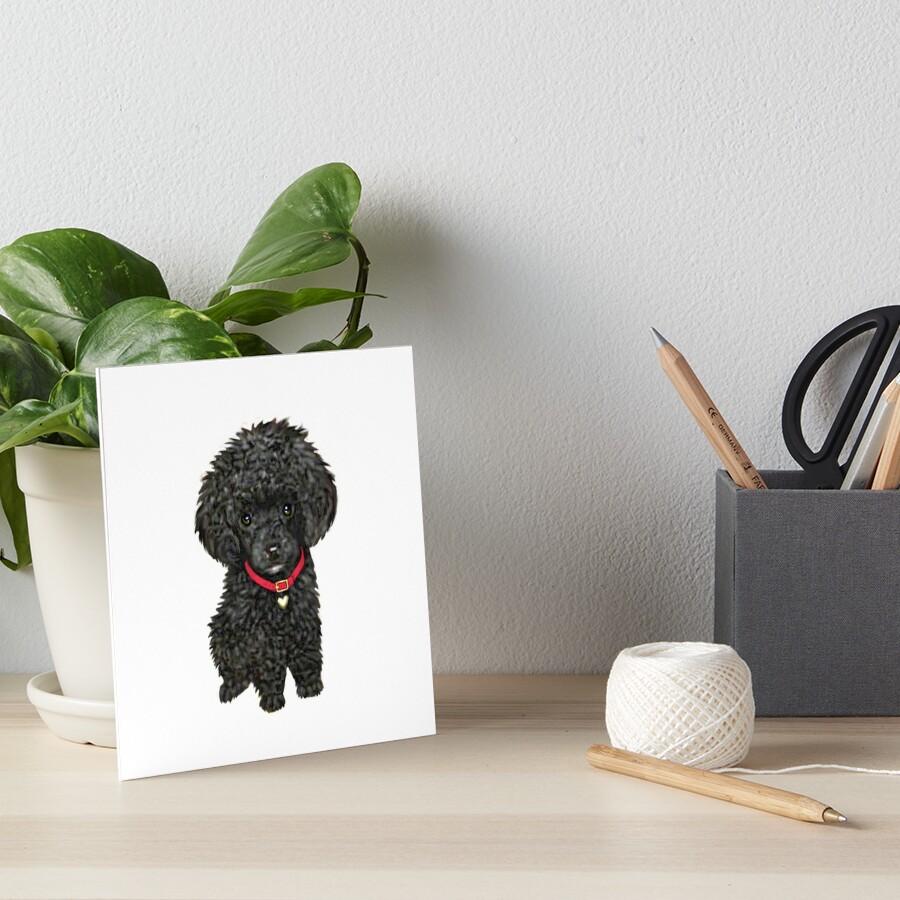 Poodle - Miniature Black Pup Art Board Print