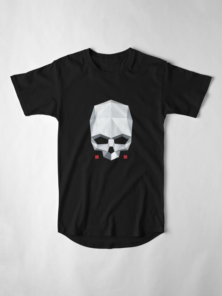T-shirt long ''Tête de mort en Origami': autre vue
