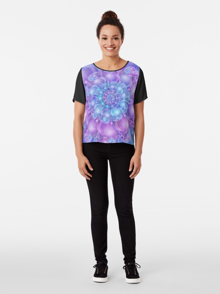 Alternate view of Cerulean Blue and Violet Purple Spiral Chiffon Top