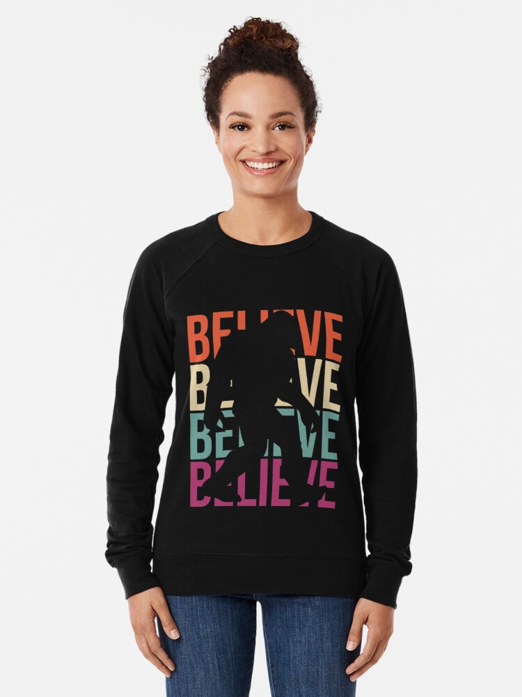 Alternate view of Bigfoot T-shirt I Believe Bigfoot Sasquatch Yeti Funny Shirt Lightweight Sweatshirt