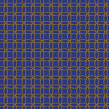 Dark Navy Blue with Gold Rope Round Circles Nautical Pattern by HotHibiscus