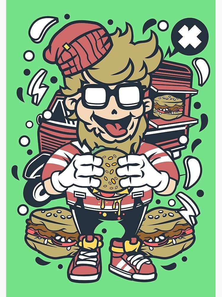Carte De Vœux Personnage De Dessin Anime De Hamburger Qu Est Ce Qui Ne Doit Pas Adorer Un Hamburger Beaucoup De Respect Pour Le Burger Par Nickelparis Redbubble