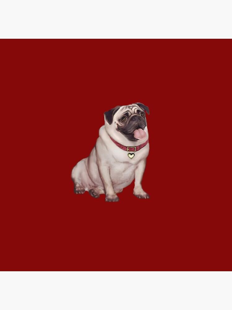 Pug - cervatillo con collar rojo de JeanBFitzgerald