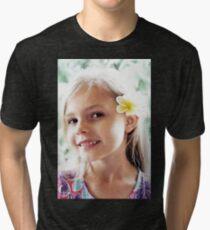 Girl And Frangipanis Flowers Tri-blend T-Shirt