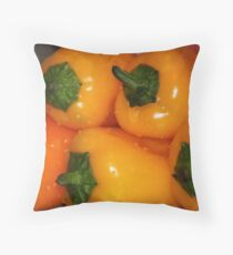 fresh yellow peppers Throw Pillow