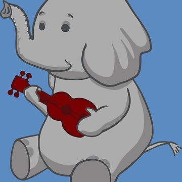 Elephant Loves Her Ukulele  by Dersee